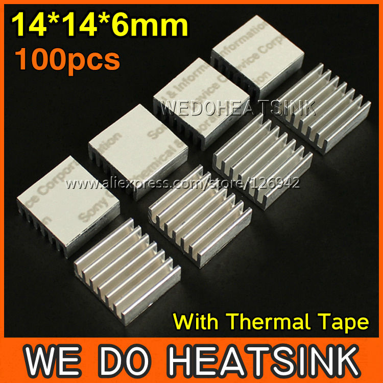 Nice 100pcs/lot 14*14*6 Mm Aluminum Radiator Heat Sink Extrusion Cooler With Thermal Tape For Lm2596 Lm2577 Lm2576 Elegant And Sturdy Package