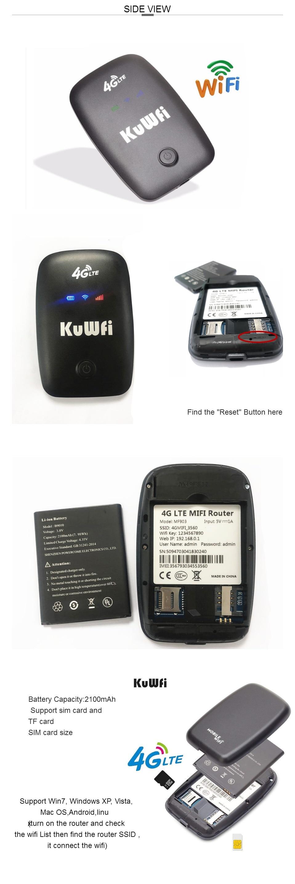 KuWFi Unlocked 3G 4G Wifi Router Hotspot Mobile Portable Pocket Wireless  Car Mifi Modem 2000mAh Battery Outdoor Wifi Router
