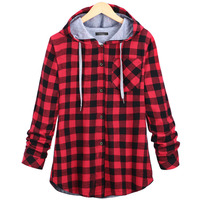 Classic Vintage Autumn Loose Women Hoodies Cotton Winter Coat Plaid Long Sleeve Single Breasted Button Casual