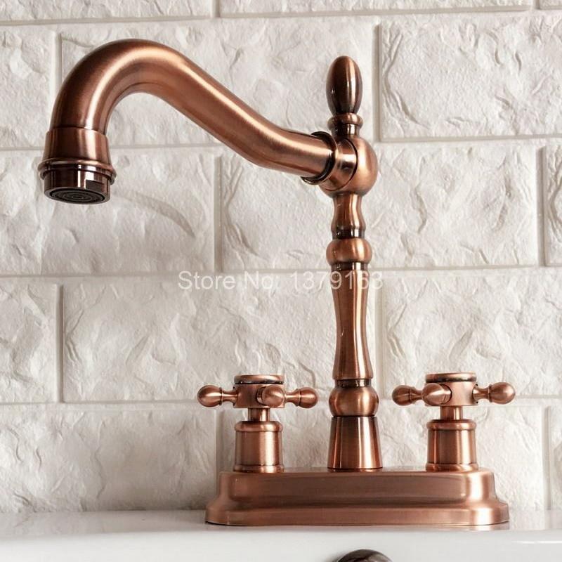 Antique Red Copper 4 Centerset Brass Kitchen Bathroom Vessel Sink Two Holes Basin Swivel Faucet Dual Handles Water Tap arg050 antique brass swivel spout dual cross handles kitchen