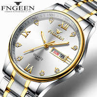 Reloj de marca de lujo para Hombre Reloj, Reloj de cuarzo con diamantes de acero inoxidable para Hombre, Reloj con pantalla analógica, Reloj de pulsera con fecha y semana