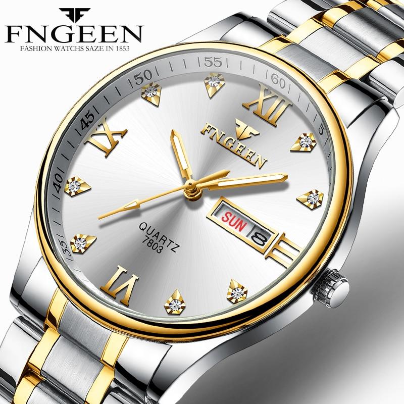 Reloj Hombre 2019 Luxury Brand Watch Men Stainless Steel Diamond Men's Quartz Watch Clock Analog Display Date Week Wrist Watches