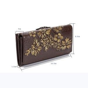 Image 2 - Miyahouse جلد طبيعي النساء محافظ تنقش الأزهار طويلة المحافظ الإناث محفظة حمل بطاقات جلدية فاخرة غلق بمشبك مخلب المحفظة