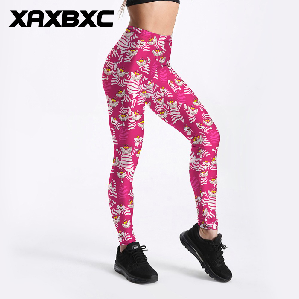 XAXBXC 3287 Sexy Girl Pencil Pant Alice In Wonderland Cheshire Cat Stripe Prints Slim Fitness Workout Women Leggings Plus Size