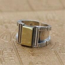 Готическое Серебро 925 Мужская печатка кольца с латунным Топ Настоящее 925 пробы Серебряное толстое мужское кольцо массивное кольцо для мужчин тайское серебряное ювелирное изделие