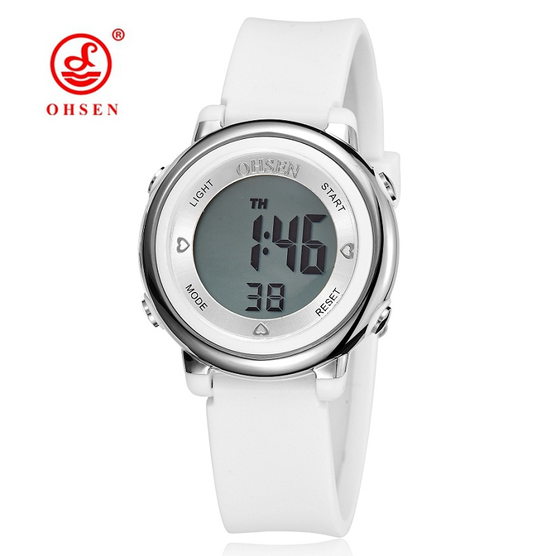OHSEN Digital Women Watches Waterproof Date Fashion Black And White Simple Womens Silicone Band Sports Watch Ladies Casual Clock fonksiyonlu rende