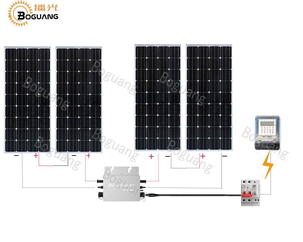 BOGUANG 600w system module kit and network systems 4pcs 150w PV solar panel cell inverter+controller Solar Photovoltaic boguang 500w semi flexible solar panel solar system efficient cell diy kit module 50a mppt controller adapter mc4 connector