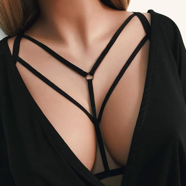 Women Sexy Fashion Halter Elastic Cage Sexy Strappy Bra Bustier