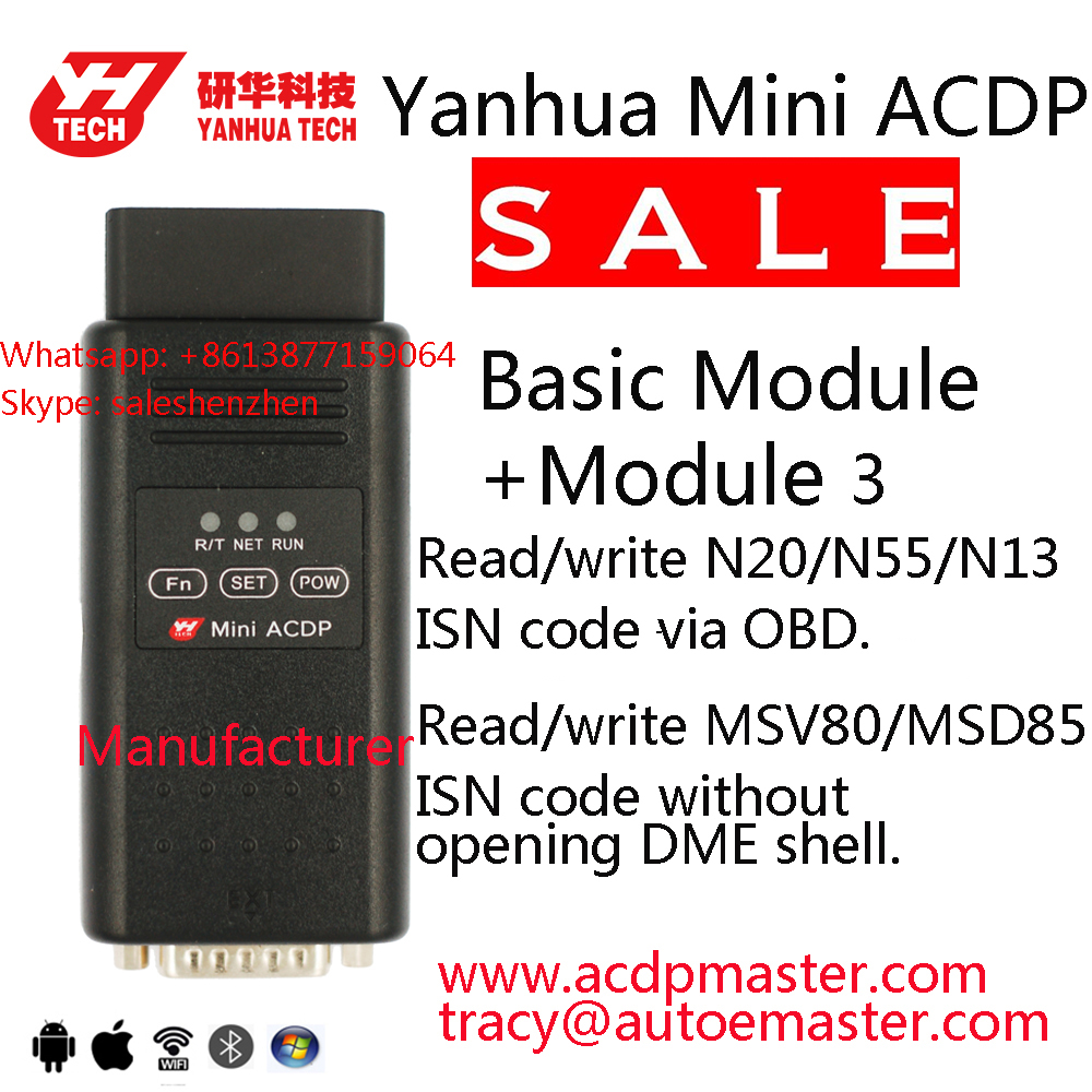 YANHUA Mini ACDP plus Module 3 for BMW FEM/BDC CAS1/2/3/CAS3+/CAS4/CAS4+DME  ISN code reading Allkeylost OBD or without soldering