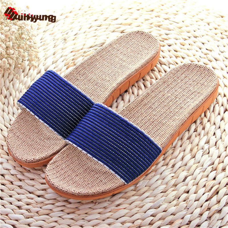 Suihyung Summer New Men's Home Linen Slippers Heavy-bottomed Non-slip Indoor Slipper Breathable Sandals Beach Slippers the new 2017 indoor home slippers men and ladies bathroom slippers couple slip bath home heavy bottomed plastic sandals and