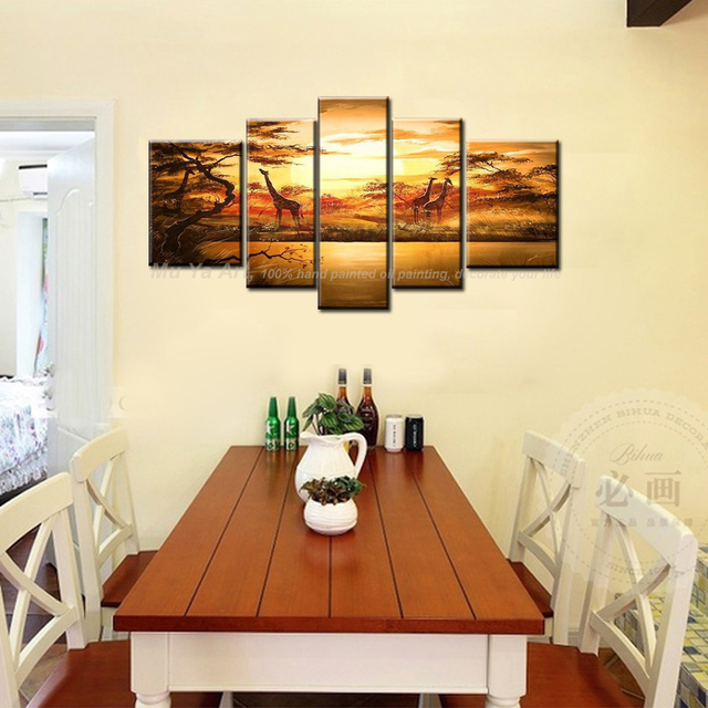 5 piece canvas wall art large modern Abstract south African canvas ...
