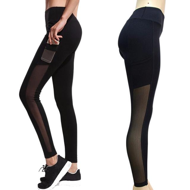 Fashion Leggings Mesh Splice Slim Elastic  Fitness Pants with Pockets