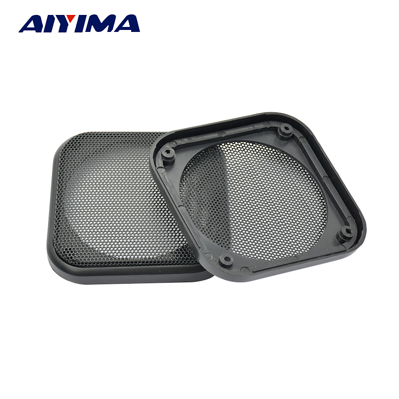 AIYIMA 2Pcs 4 INCH Speaker Grill Mesh Enclosure Protective Cover Replacement Square Net Speaker Accessories