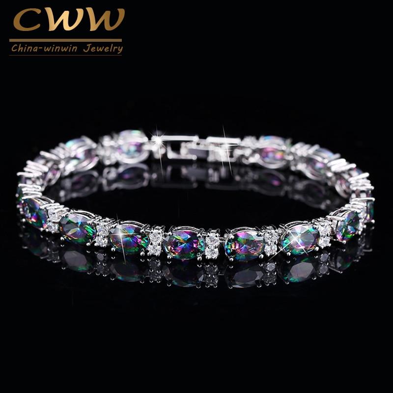 CWWZircons Design di Lusso Multicolor Ovale Arcobaleno Mystic Cristallo di Donne Braccialetto di Fantasia Con Pietre Cubic Zirconia CB149