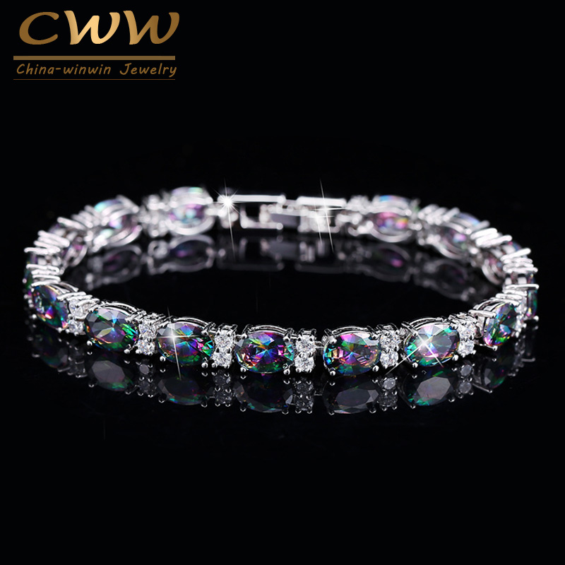 CWWZircons Luxury Design Multicolor Oval Rainbow Mystic Crystal Women Fancy Bracelet With Cubic Zirconia Stones CB149 gorgeous faux crystal oval bracelet with ring for women
