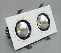 Livraison Gratuite Dimmable Double Cob Led Plafond Downlight 20 w 120 angle chaud/naturel/blanc 100-240 v Carré Led Ampoule Lampe Éclairage