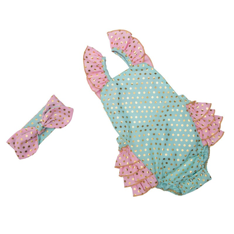 Infant Gold Polka Dot Ruffle Rompers (2)