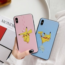 Cartoon Pokemons Pikachus Cute Couple Phone Case Soft Cover For iPhone 6 6s 7 8 Plus X XS XR XSMax Matte