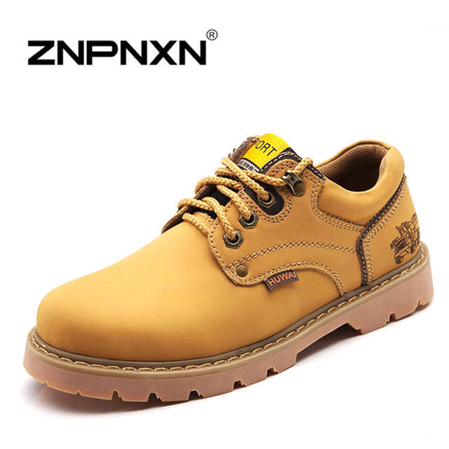 2015 Autumn Men Ankle Boots Genuine Leather Mens Boots Casual Lace Up Brand Designer Work Men Boots Winter Shoes Man Znpnxn