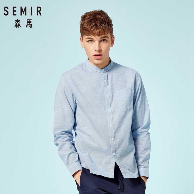 SEMIR Mens Band-Kraag Shirt heren Regular Fit Shirt Lange Mouwen Casual Shirt in 100% Katoen Kraag Shirt dress Shirt Solid