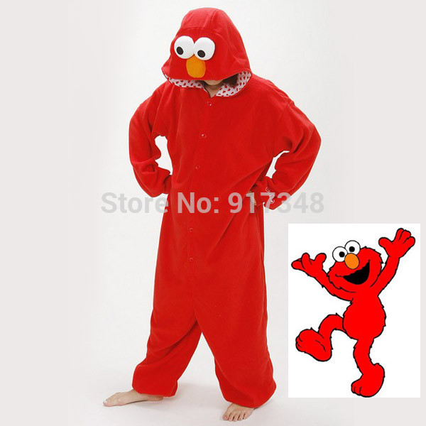 Sesam Street ELMO och COOKIE MONSTER Vuxen Onesie Cartoon Anime Cosplay Kostym för Halloween Carnival Christmas Party