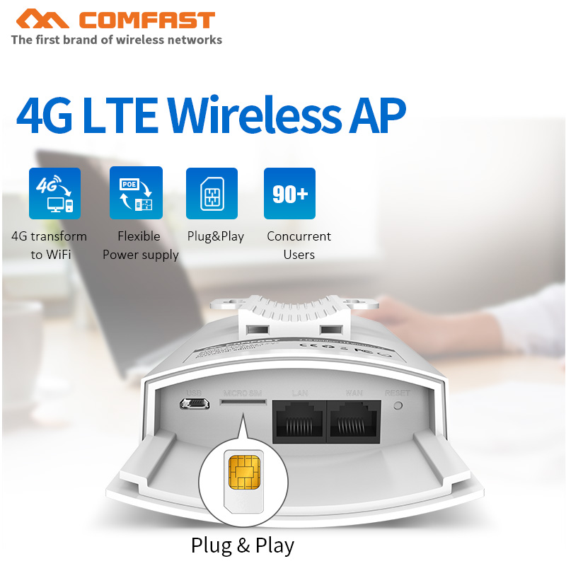 IP66 Waterproof 4G LTE Wireless AP Plug And Play 4G SIM Card Portable Wireless WiFi Router 2.4Ghz 300Mbps Base Station AP CF-E5