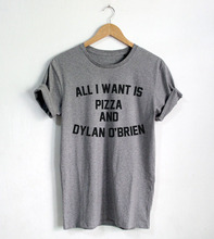 All I Want is Pizza And Dylan O'brien shirt Funny Quote T-shirt Fashion shirt Hipster Unisex T-Shirt More Size and Colors-A659