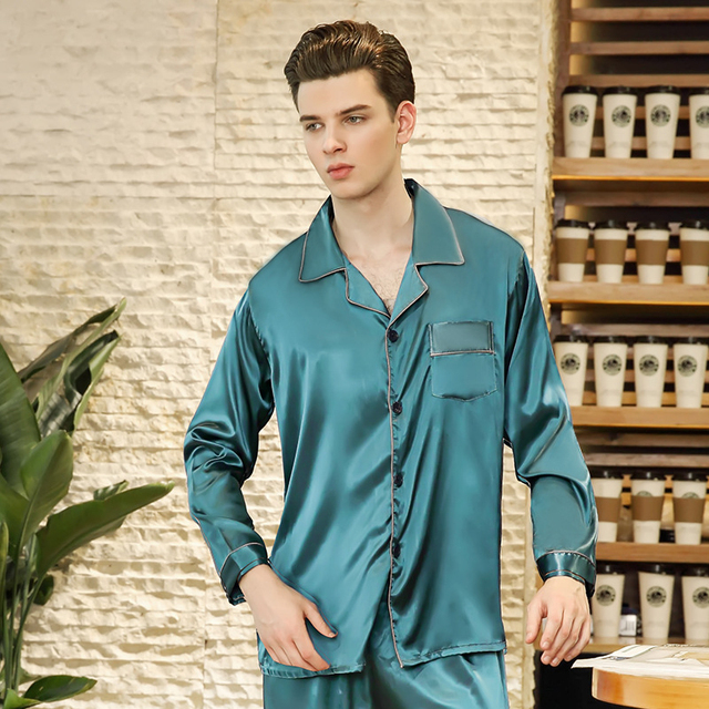 SSH0236 Spring Autumn Sleepwear Men Pajamas Satin Silk Pajama Set Full  Sleeve Long Pants 2pcs Home Clothing Male Solid Nightwear e37ab260d
