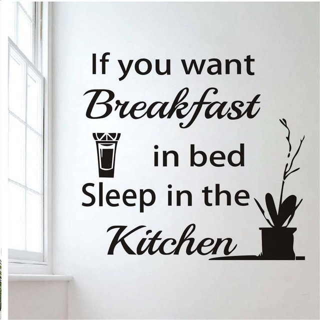 Kitchen wall sticker sleep in the kitchen quote sayings vinyl wall decals orange juice decorative