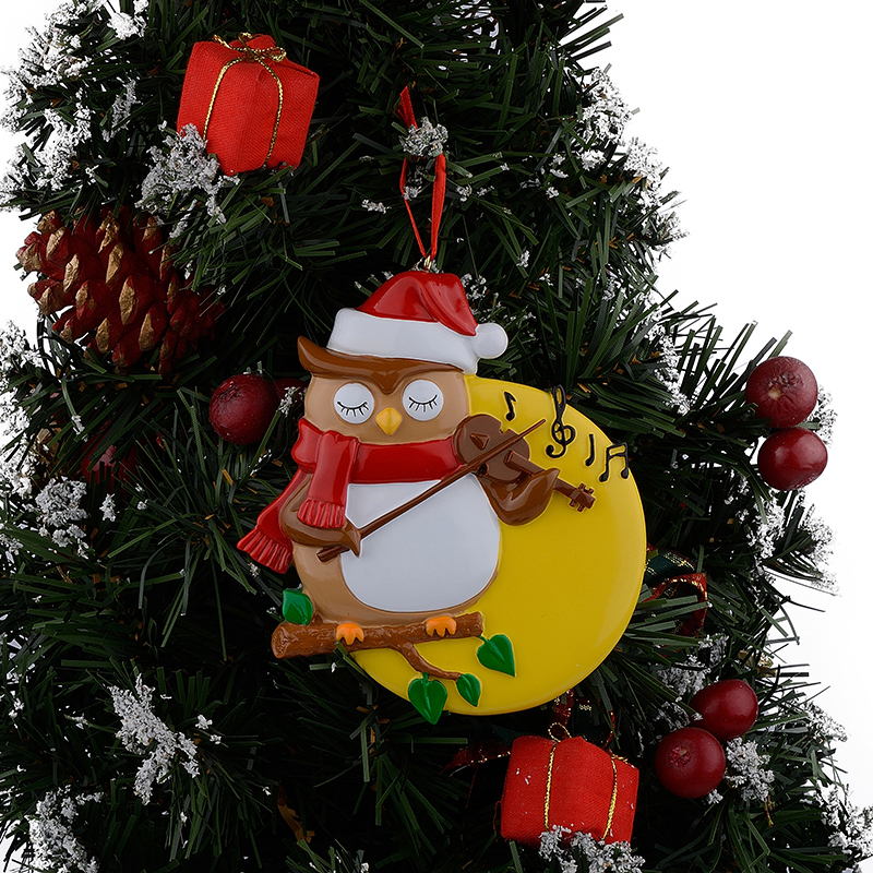 Resin Glossy Violin Owl Personalized Christmas Ornaments Used For ...