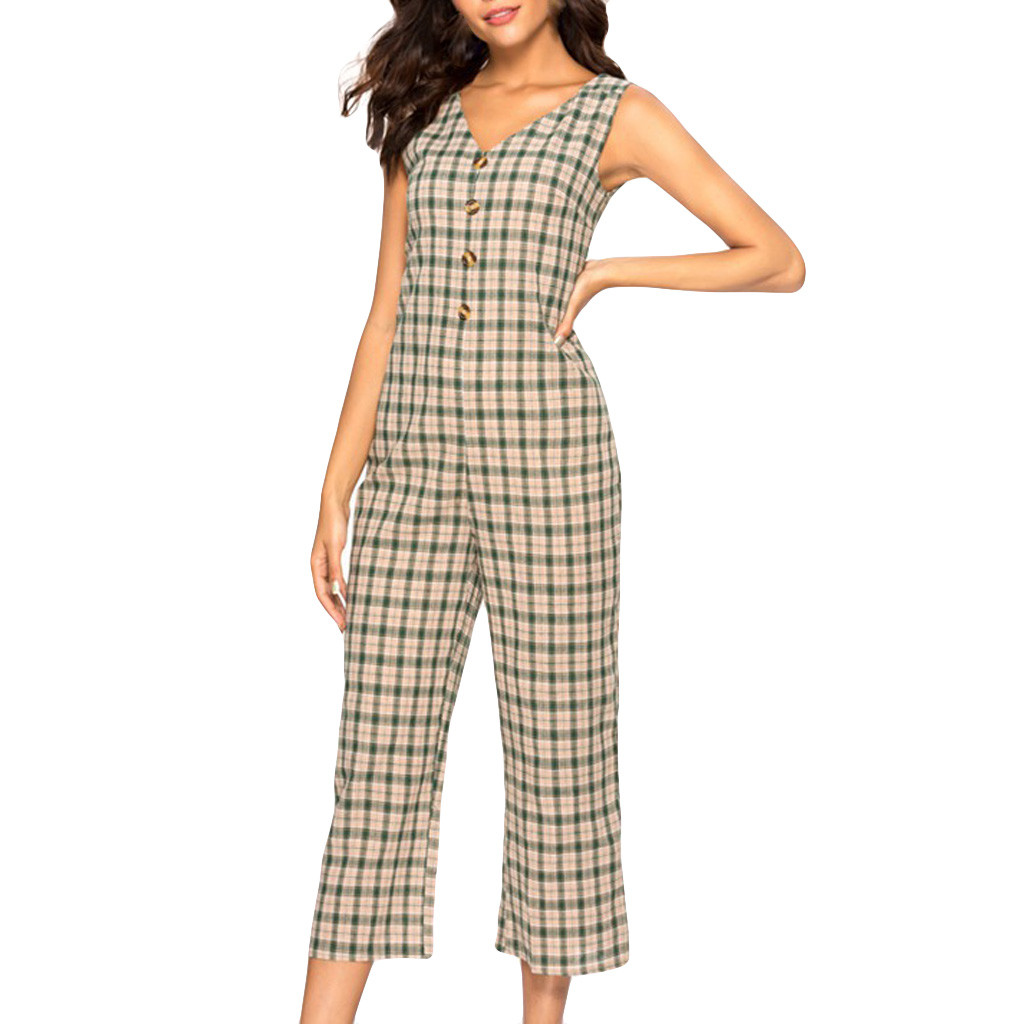 CHAMSGEND Womens Fashion Sexy V-Neck Jumpsuit Casual Lattice Button Wide Leg Pants Long Jumpsuit Backless Playsuit Ja25