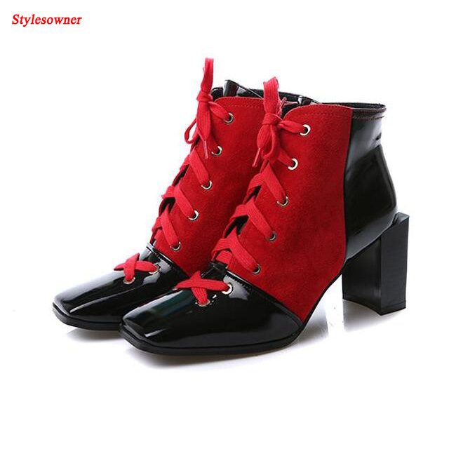Stylesowner Winter Autumn Square Toe Lace Up Women Ankle Boots Genuine Leather Red Mixed Black High Heel Martin Boots Mujer 2017 new fashion lace up women boots genuine leather square heel black autumn winter sexy brand ladies ankle boots women shoes