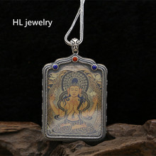 Free Shipping Wholesale S925 sterling silver jewelry men and women sweater chain Buddha licensing Thai silver Guanyin pendants