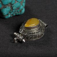 Ручной работы непальская 925 серебро подвеска GAU цепочки и ожерелья стерлингового серебра Природный Мила буддистская молитва кулон с секрет...