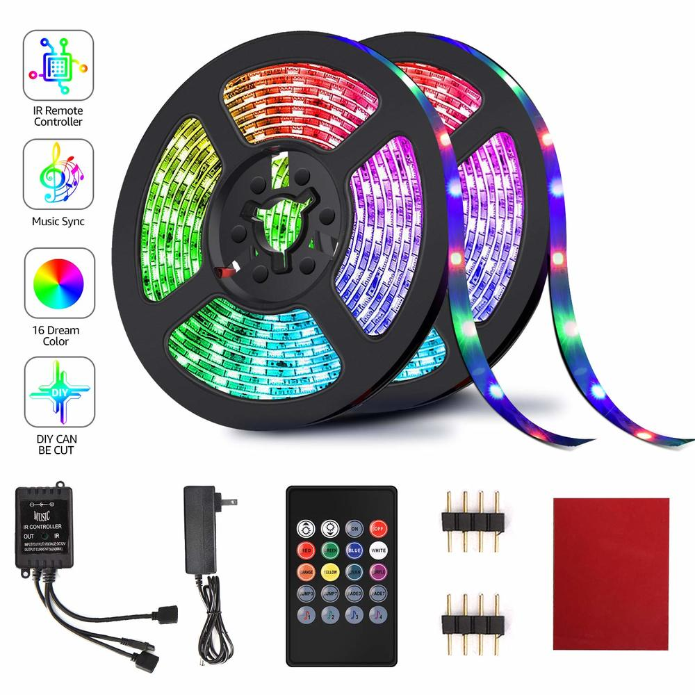 Firya LED Strip Lights 32.8FT 10M 20 24 44 Keys RGB Music Sync Color Changing Rope Light 600 SMD 3528 LED IR Remote Controller