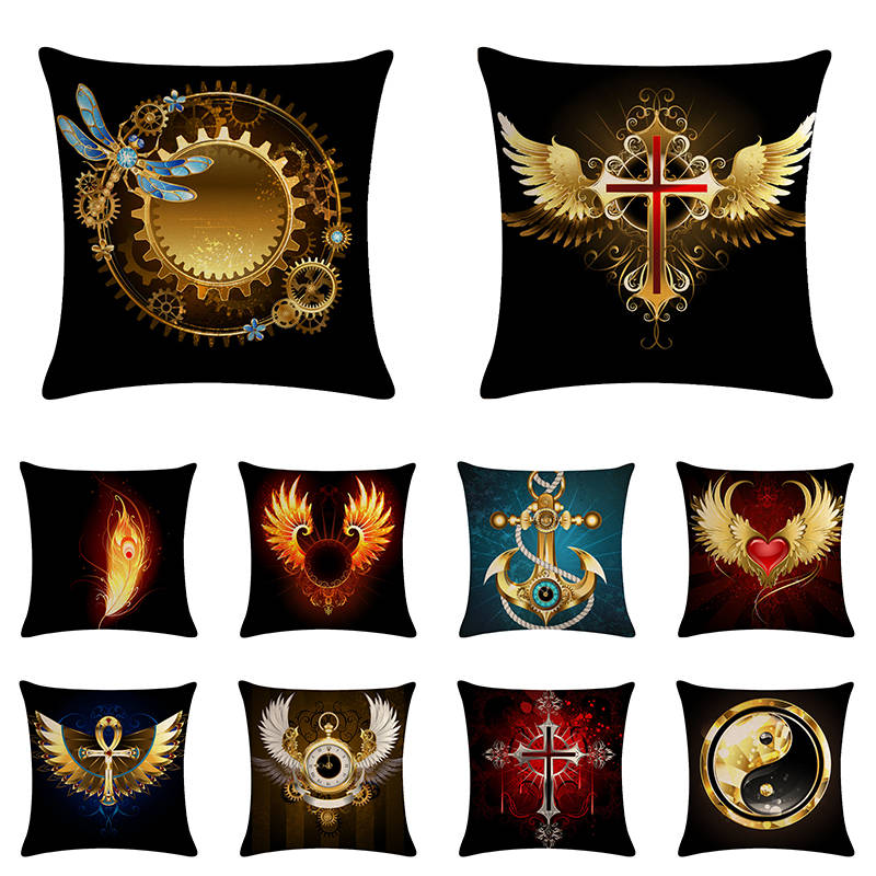 Taiji Cross Sign Home Textile Decor Sofa Decorative Pillow Harry Potter Pattern Cushion Cover Pillowcase Decor Gift ZY1028