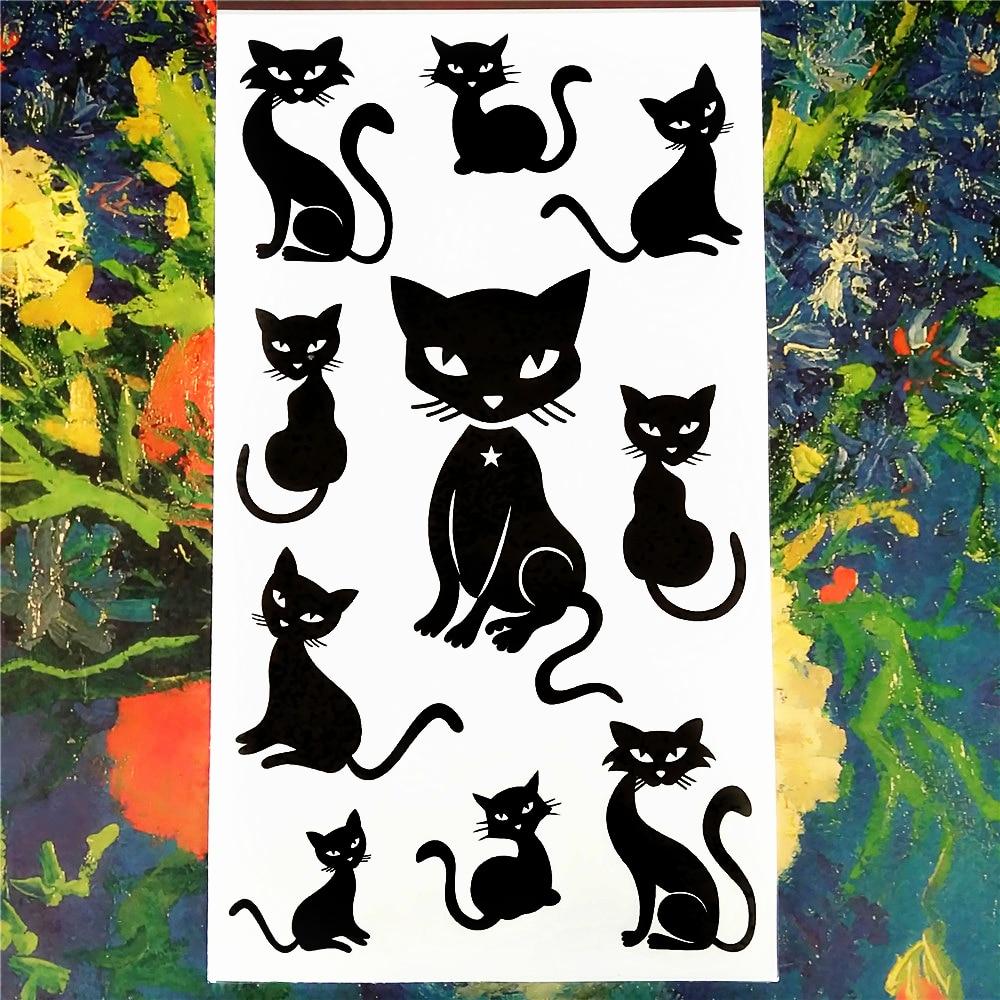 Nu-TATY Sexiga svarta katter Tillfällig tatuering Body Art Arm Flash - Tatuering och kroppskonst - Foto 3