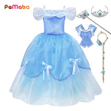 PaMaBa Fancy Cinderella Princess Dresses for Girls Off Shoulder Soft Kids Summer Clothes Christmas Party Frocks Cinderella Gowns(China)