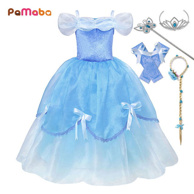 5e1a79211db2 PaMaBa Fancy Cinderella Princess Dresses for Girls Off Shoulder Soft Kids  Summer Clothes Christmas Party Frocks Cinderella Gowns