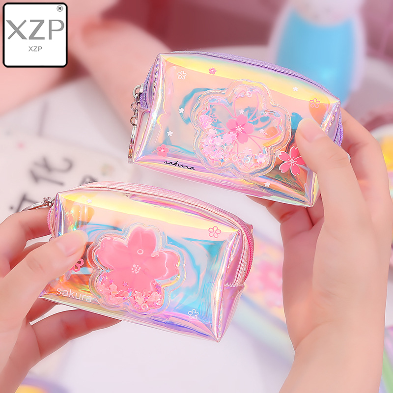 XZP New Mini Quicksand Small Purse Holographic Women Girls PVC Coin Purses Students Receive Coin Bag Laser Card Holder For Kids