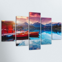 5 Pieces HD Print Painting Lake Getaway Boats Natural Landscape For Modern Decorative Bedroom Living Room Home Wall Art Decor