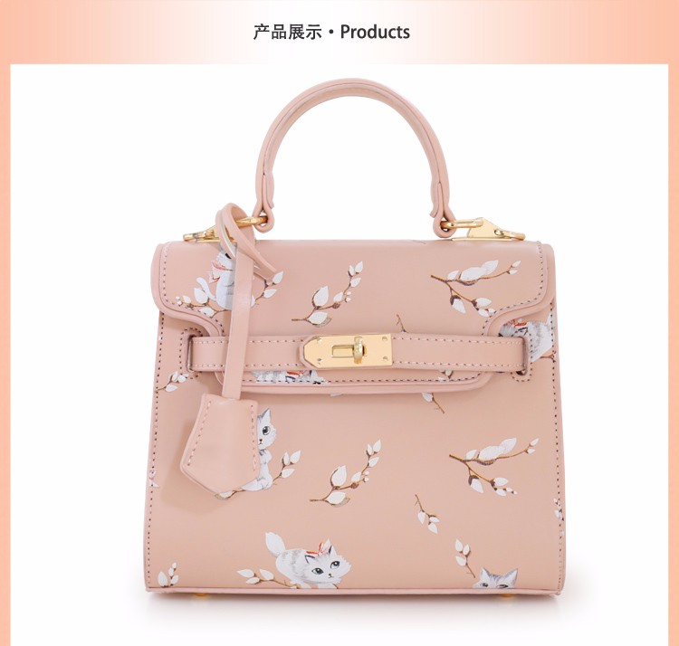 x12 New Sale Bolsas Mujer Small Peekaboo Saddle Faux Leather PU Pink Cat Floral Women\'s Handbags For Lady  Messenger Bags Totes