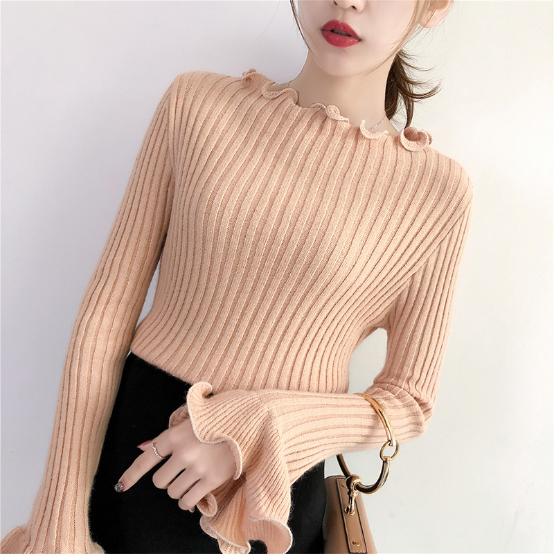 High Quality Autumn Winter Sweater Women Pullovers Fashion Women's Solid Ruffles Full Flare Sleeve Sweaters For Female 2018