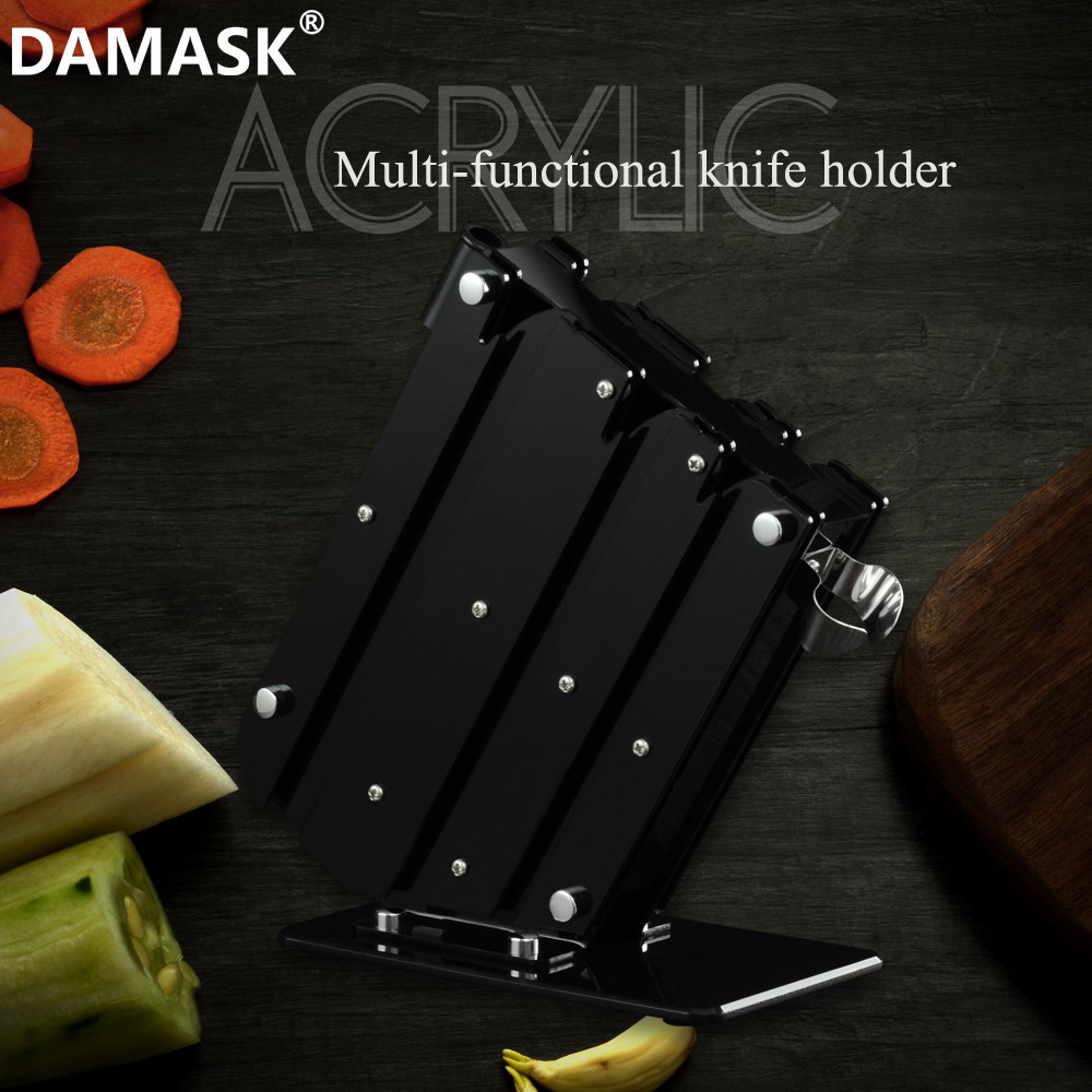 DAMASK Black Knife Stand High Quality Acrylic Kitchen Knife Holder Storage Stainless Steel Ceramic Damascus Knife Block Gift