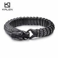 KALEN Punk 22CM Animal Dragon Head Charm Bracelet Men Stainless Steel Black Matte China Dragon Blessing Bracelet Bangle Jewelry