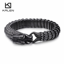 KALEN Punk Animal Dragon Charm Bracelet Men Stainless Steel MatteShiny China Dragon Blessing Bracelet Amulet Bangle Jewelry