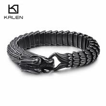 Kalenパンク動物ドラゴンチャームブレスレット男性ステンレス鋼matteshiny中国ドラゴン祝福ブレスレットお守りバングルジュエリー