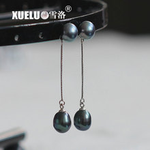 XUELUO 925 Sterling Fashion Jewelry Double Black Real Natural Genuine Freshwater Pearl Earrings for lady huge pair of 11mm natural tahitian genuine black perfect round pearl earring