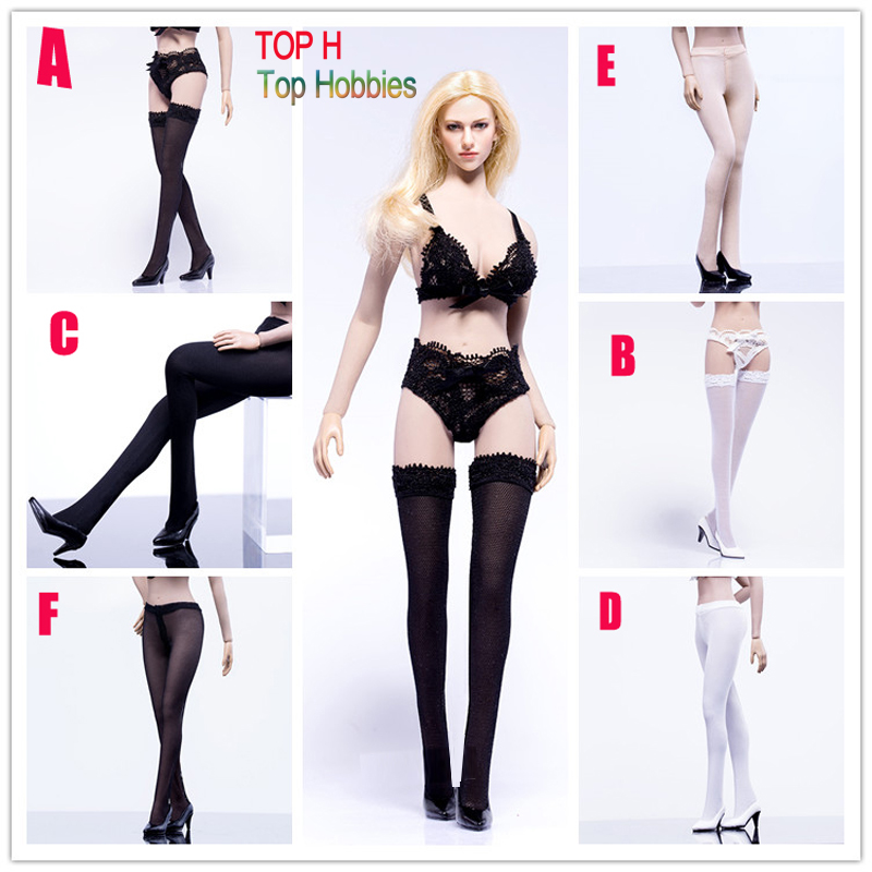 <font><b>Sexy</b></font> 6 Style Phicen Limited <font><b>Sexy</b></font> Black/WT Stockings Semi-reticular Pantyhose For 1/6 Scale 12