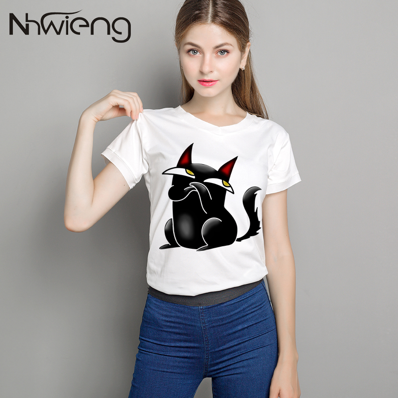 LZFOON Store Women Black 3D cat print tees shirts summer short sleeve plus size cute v-neck top quality t-shirt female black cats tshirts